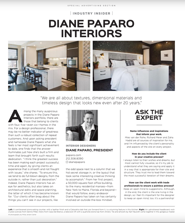 Luxe Magazine Diane Paparo profile January 2021